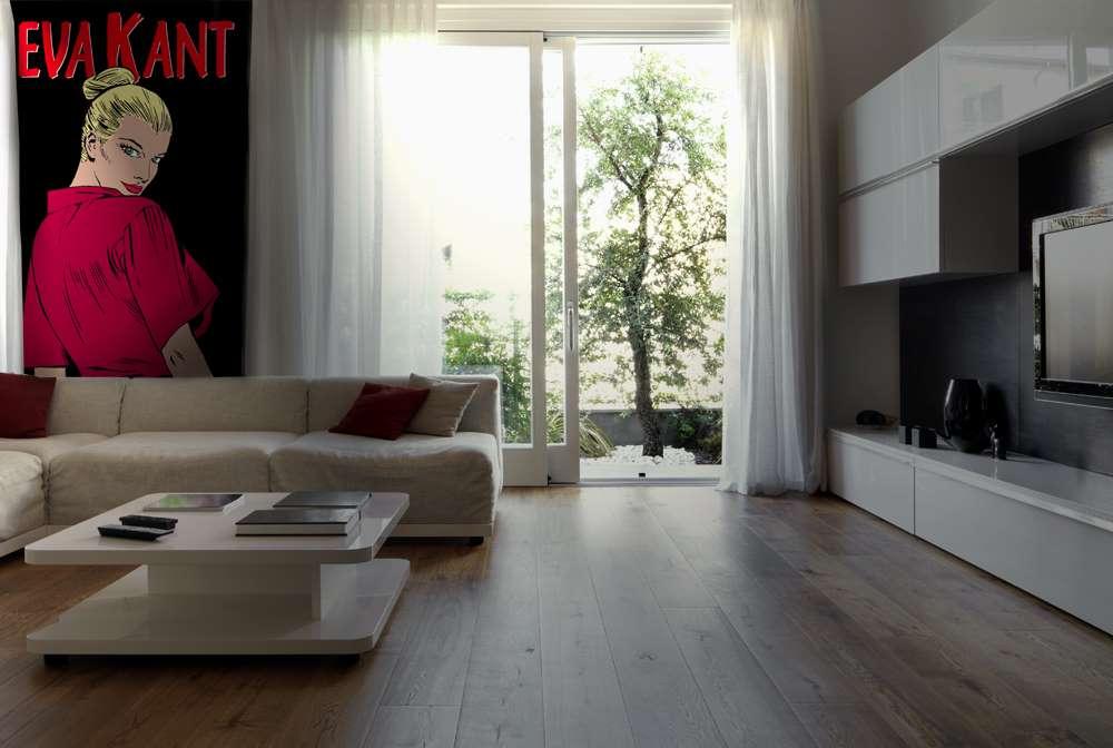 spesso moderno soggiorno con porta finestra aperta sul giardino  LB93